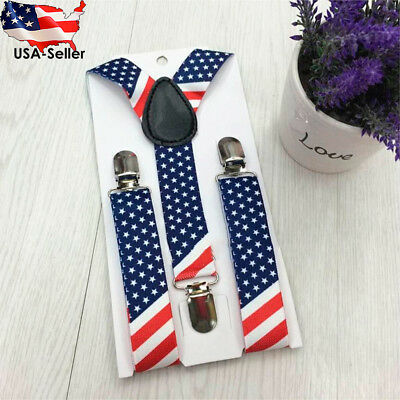 Suspenders with flag of the USA Adjustable Length Toddler Kids Boys Girls Baby
