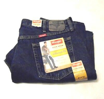 1c9269019b8 WRANGLER Five Star Denim Relaxed Fit Blue Jeans Mens 40 x 30 New With Tags  NWT