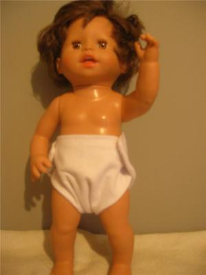 "Doll Clothes Bitty Baby Doll Diapers Single White Fits Size15"" 16"" 17"" Dolls"