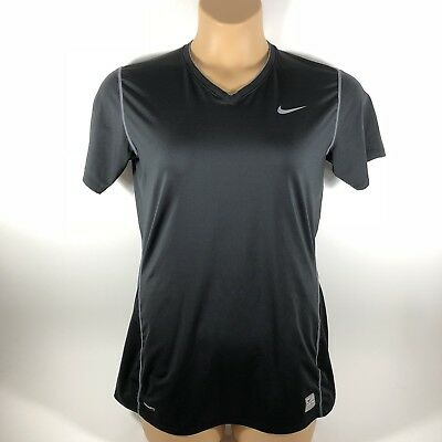 Nike Pro Fit Dry Fitted T-Shirt V-Neck Black Womens XL