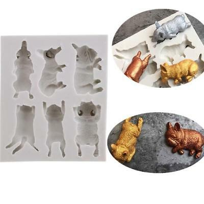 Silicone Mould Sleeping Dog Puppy Sugarcraft Cup Cake Topper Decorating LH