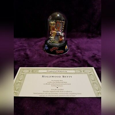 Betty Boop Franklin Mint Collector Figurine Hollywood Betty Glass Dome & COA EUC