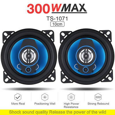 "4"" 10CM 300 Watt 2-Way Car HiFi Audio Stereo Coaxial Speakers Pair 