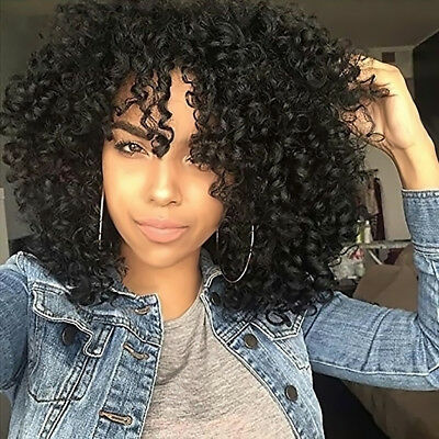 Women Black Short Full Wavy Frontal Wig Afro Kinky Curly Natural Hair Wigs