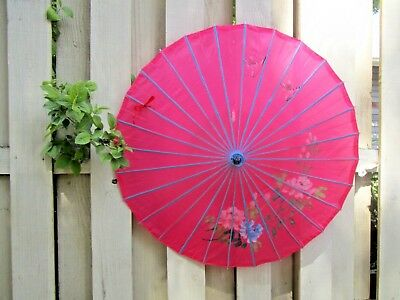 Vtg Asian Pink&Blue Bamboo Parasol Umbrella Hand Painted Floral&Birds Japanese