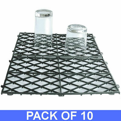 "10 Black Interlocking Glass Mats - Plastic Shelf Liner Matting 8"" x 12"" Pub Bar"