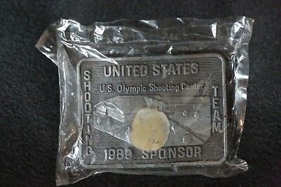 NIP Vintage Collectible Olympic Shooting Team Sponsor Belt Buckle 1989