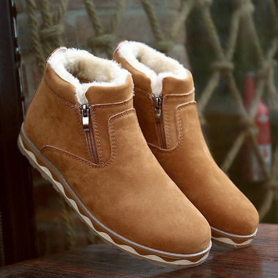 Mens Winter Short Snow Ankle Boot Fur Thicken Warm Cotton Shoes Outdoor No slip