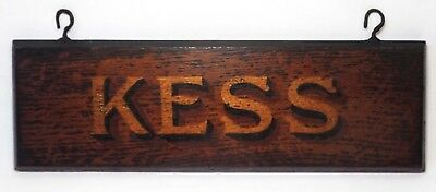 Early 20Th C Vint Kess Wooden Hanging Sign W/gold/black Letters, Brass Eye Hooks