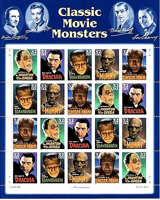 HOLLYWOOD CLASSIC FILMS US SCOTT 3168-3172 MOVIE MONSTERS 32c MVF 20 STAMP SHEET