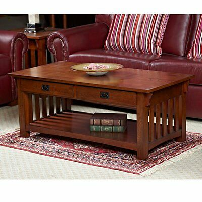 Leick Home Solid Ash Two Drawer Mission Coffee Table, Medium Oak