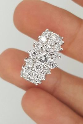 2 Ct 14K White Gold Over Diamond Pyramid Cocktail Cluster Woman's Ring