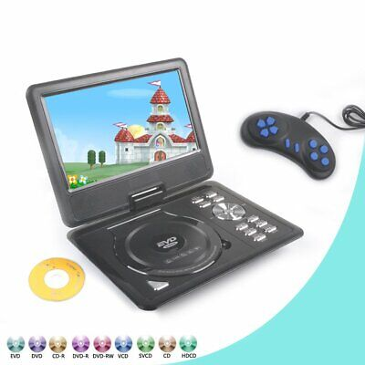 "9"" Portable DVD Player With Swivel Screen Game CD USB Port In-Car Rechargeable"