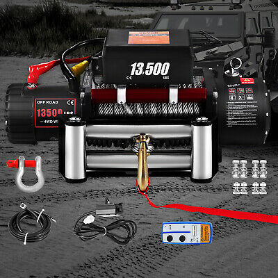 Electric Recovery Winch - 12v 13500lb - Heavy Duty Steel Cable, 4x4 Car