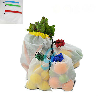 5 Pack Reusable Produce Bags Black Rope Mesh Vegetable Fruit Toys Storage Pouch