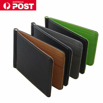 Mens Women Credit Card Holder Leather ID Cards Money Clip Wallet Ultra Slim AU