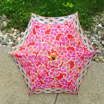 Old Child Parade Parasol Floral Print Bamboo Handle Made in Japan
