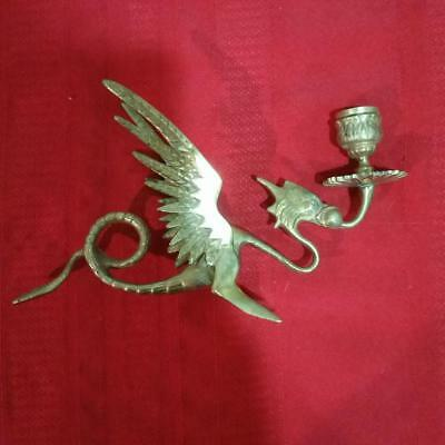 Vintage Brass Candlestick Gothic, Dragon, Candle Holder