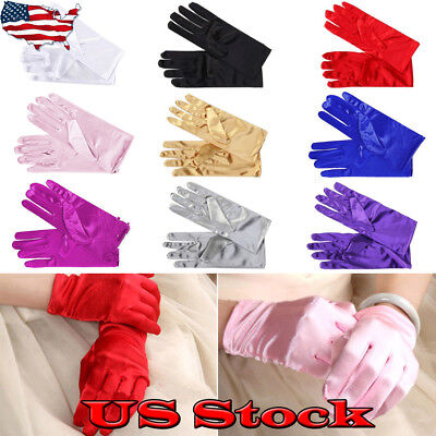 Women Short Wrist Gloves Smooth Elastic Satin Party Dress Prom Evening Wedding