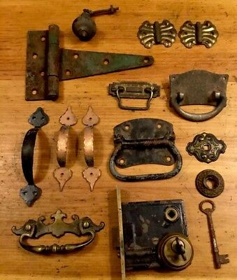 Antique Vintage Lot Russwin Door Lock With Key Hinges Drawer Pulls And More!