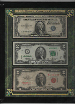 $2 Bill Plaque, Vintage Red Seal $2 Bill and Silver Certificate Display Plaque