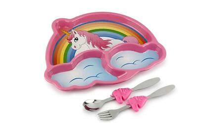 NEW Funwares Me Time Childrens Unicorn Dinner Set - Plate & Cutlery