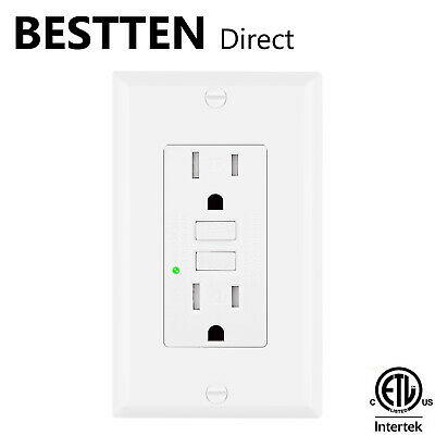 BESTTEN 15A Amp GFCI GFI Tamper Resistant Safety Outlet Receptacle w/ LED White