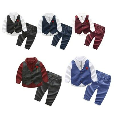 Boys Kids Suits Waistcoat Suit Wedding Page Baby Formal Party Outfits 3 Piece UK