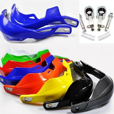 Pair Motorcycle 11/8 28mm Hand Guard with Mounting Clamp Blue Dirt Bike Scooter