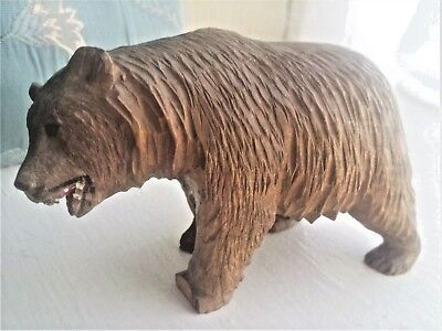 Antique Black Forest Carved Wood Bear with Bead Eyes & Painted Mouth 12 cm long