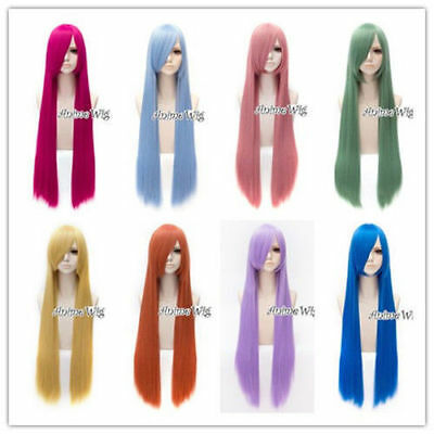 """100CM Women Lady Cosplay 21 Colors 39"""" Fashion Long Straight Wig With Cap"""