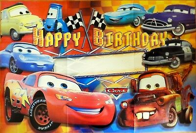 Disney Cars Lightning Mcqueen Happy Birthday Party Poster Banner Supplies