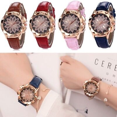 Women Crystal Flower Quartz Watches Big Anlog Dial PU Leather Strap Wrist Watch