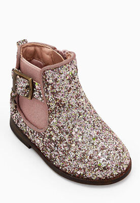 Ex Store Girls Sequin Diamante Chelsea Boots Shoes Sparkly Xmas Gift Party Fancy