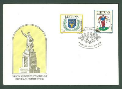 Lithuania E14 FDC 1995 2v Coat of Arms Animals Angel  Below face