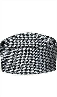 CHEFS HAT, ROUND SKULL CAP, BLACK & WHITE, SMALL CHECK HOUNDSTOOTH PRINT, INS13h