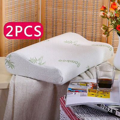 2 x Contour Memory Foam Pillow Bamboo Luxury Firm Head Neck Support Orthopaedic