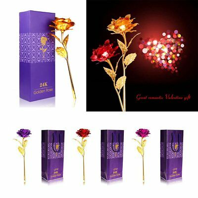 24K Gold Foil Plated Valentine's Day Romantic Rose Flower Gift For Lover Hot