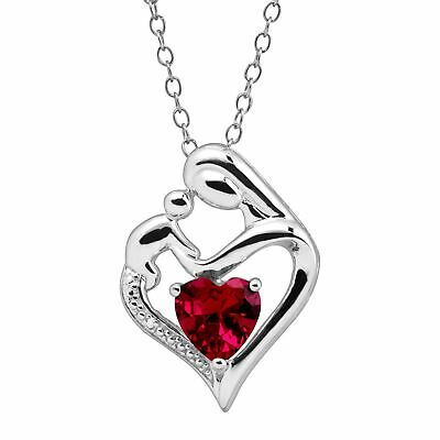 1 5/8 ct Created Ruby Mother & Child Pendant with Diamond in Sterling Silver