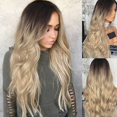 Synthetic Curly Front Wig Blonde Natural Long Wavy Wig Full Hair Piece For Women