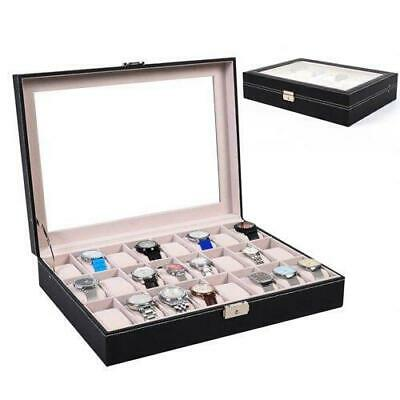 24 Grid Slot Leather Jewelry Watch Box Lockable Display Case Organizer with Top