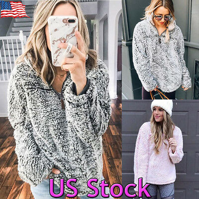 Women Winter Zipper Warm Hooded Fluffy Coat Fur Jacket Outerwear Sweater Hoodies
