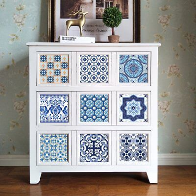 10Pcs/Set Chinese Blue And White Porcelain Design Self Adhesive Tile Stickers K2