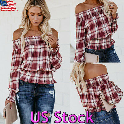 US Fashion Summer Women Casual Plaids Off Shoulder T Shirts Loose Tops Blouse