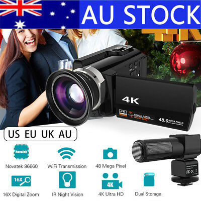 Andoer 4K 1080P 48MP WiFi Digital Video Camera Camcorder Recorder DVR+Mic+Lens