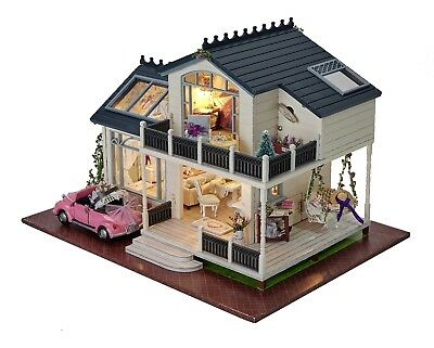 DIY Doll houses Miniature Wooden Dollhouse Kit & Inside Furniture LED Xmas Gift