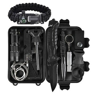 Notfall-ueberlebens-Kit 11 in 1, Outdoor Survival Gear Tool mit Survival-Ar C3U7