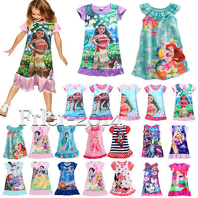 Kids Girls Disney Cartoon Moana Dress Pyjamas Summer Sleepwear Cosplay Costumes