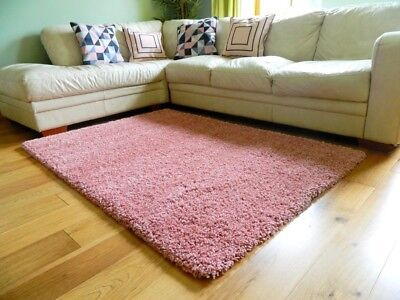 Small Large Rose Pink Thick Soft Bedroom Shaggy Rug Living Room Rug