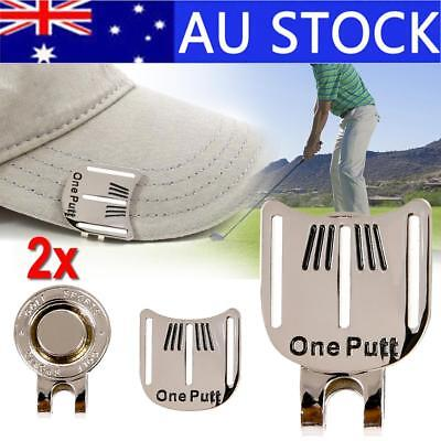 2x Golf Ball Marker Putting Alignment Aiming Magnetic Hat Golf Cap Clip Tool